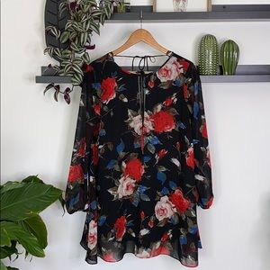 Forever 21 floral semi sheer tunic dress size M